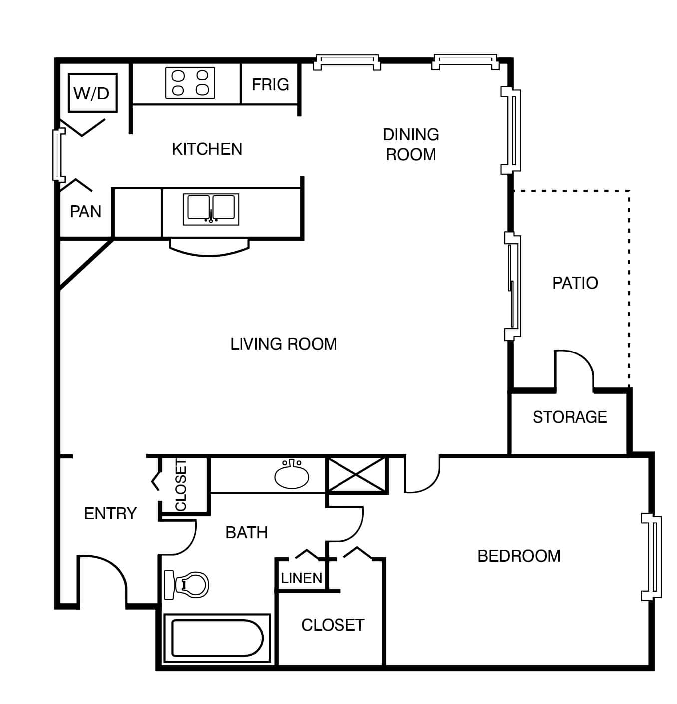1Bed 1Bath 799 Sq Ft