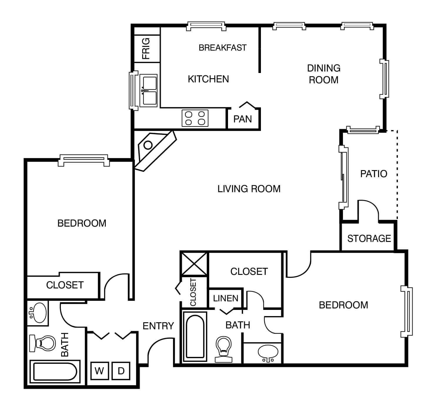 2 bed 2 bath - 1083-1089 sq ft.