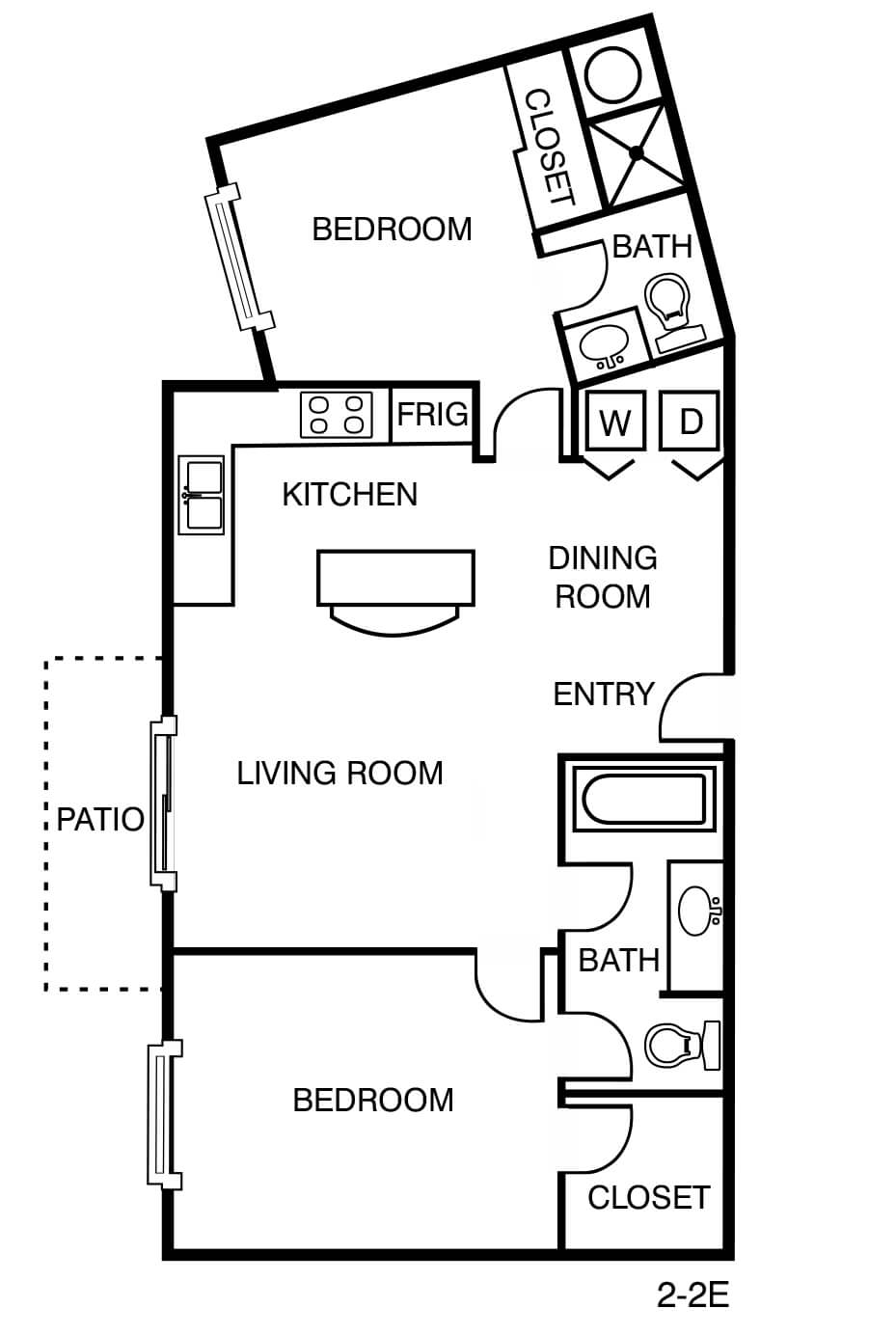 2 Bed 2 Bath 931 Sq Ft