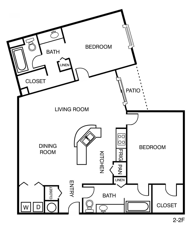 2 Bed 2 bath - 1161 sq ft.